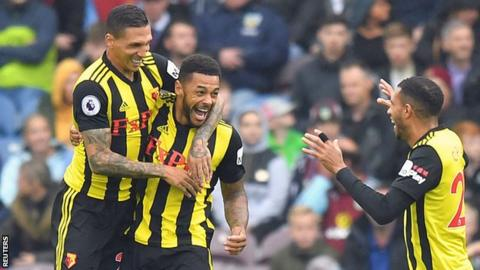 Andre Gray celebrates his goal