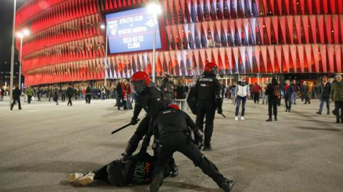 Clashes between Athletic Bilbao and Spartak Moscow at San Mames stadium in Bilbao