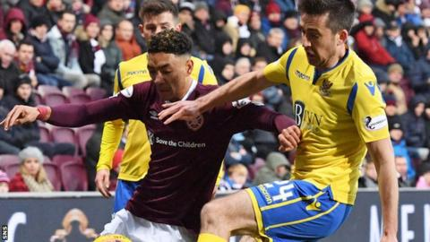 St Johnstone defender Callum Booth (right) makes his second appearance against Hearts