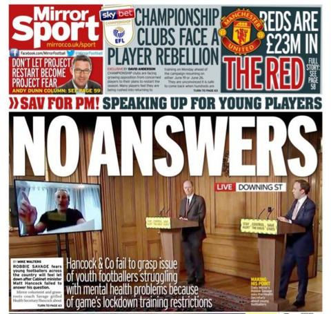 Friday's Mirror back page