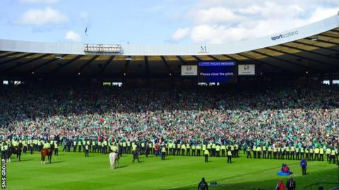 Police move to restore order at Hampden Park