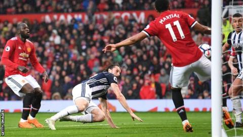 Jay Rodriguez scores West Brom's winner against Manchester United