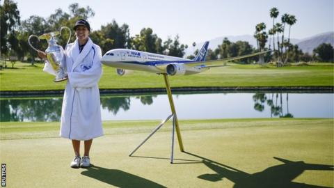 Pernilla Lindberg celebrates after winning the ANA Inspiration in California