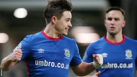 Jordan Stewart celebrates scoring against former club Glentoran in Monday night's game