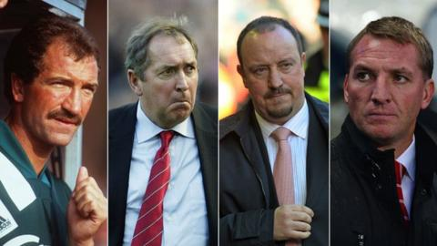From left to right: Previous Liverpool managers Graeme Souness, Gerard Houllier, Rafael Benitez and Brendan Rodgers