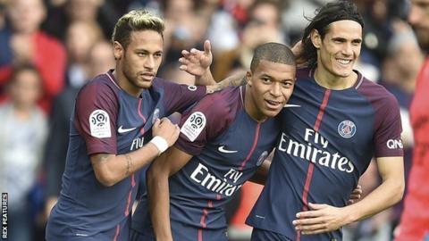 Paris St-Germain strikers Neymar, Kylian Mbappe and Edinson Cavani