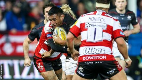 Mako Vunipola in action against Gloucester
