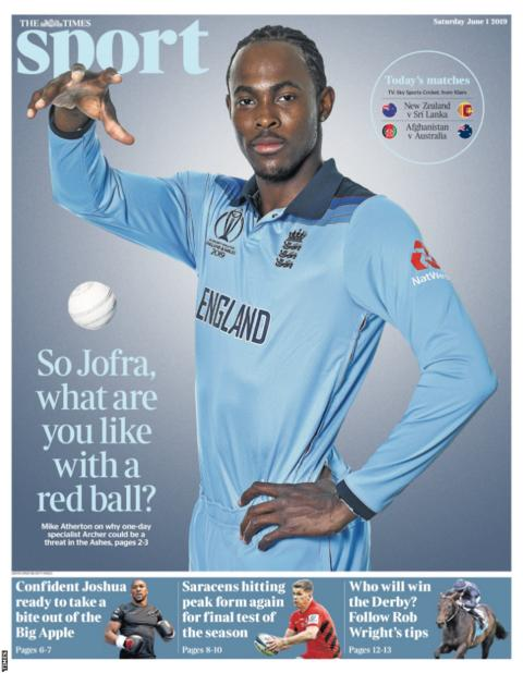 Saturday's Times back page reads: 'So Jofra, what are you like with a red ball?'