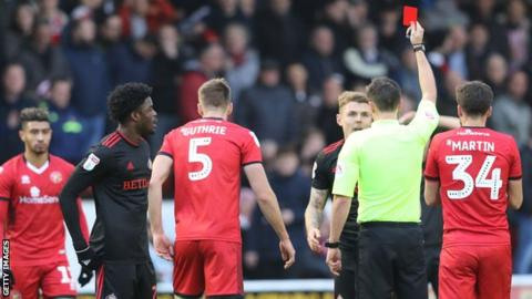 Max Power was sent off by referee Craig Hicks midway through the first half of Sunderland's League One game at Walsall