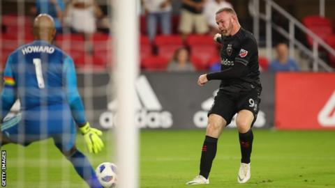 DC United forward Wayne Rooney scores against Colorado Rapids for his first MLS goal