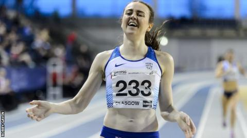 Laura Muir wins the 800m at the Scottish Indoor Championships at the Emirates Arena