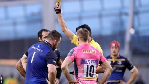 Cian Healy was yellow-carded for reckless use of the forearm in a ruck