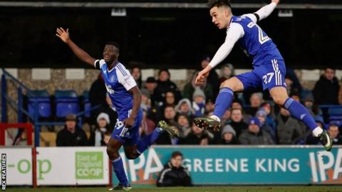 Ipswich Town forward Tom Lawrence scores a spectacular third goal for Ipswich against Blackburn