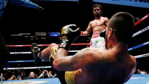 Manny Pacquiao knocked Lucas Matthysse to the canvas three times in his win
