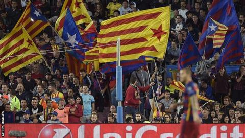 Barcelona fans show Catalan flags known as Esteladas in the Champions League win over Bayer Leverkusen