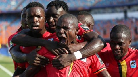 Patrick Kaddu celebrates scoring Uganda's opening goal of the 2019 Africa Cup of Nations