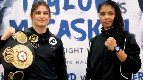 Katie Taylor (left) with challenger Jessica McCaskill in London on Monday