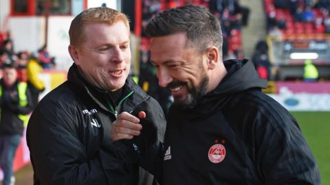 Hibs boss Neil Lennon and Aberdeen counterpart Derek McInnes share a joke before kick-off