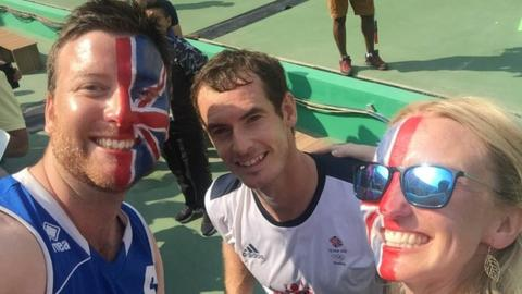Andy Murray poses with Team GB fans