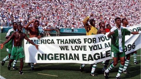 Nigeria celebrate winning 1996 men's Olympic football gold