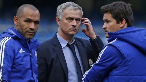 Jose Morais alongside Chelsea boss Jose Mourinho and Steve Holland ahead of a Premier League game against Liverpool