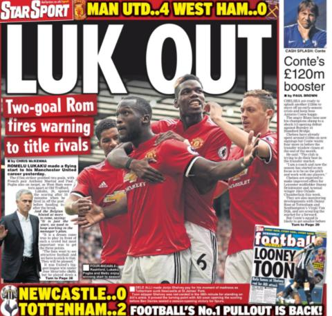 The Daily Star leads with Romelu Lukaku's goal-scoring debut