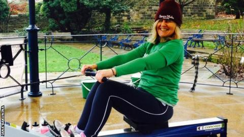 Jo Moseley rowed a half marathon on a bandstand in Ikley town centre