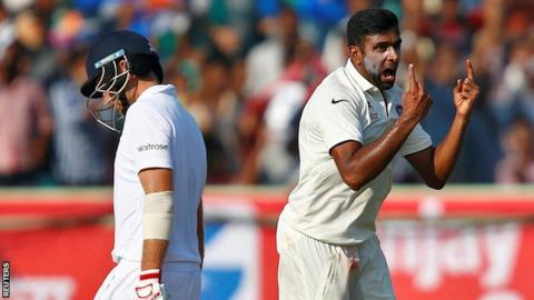 Ravichandran Ashwin celebrates the wicket of Joe Root