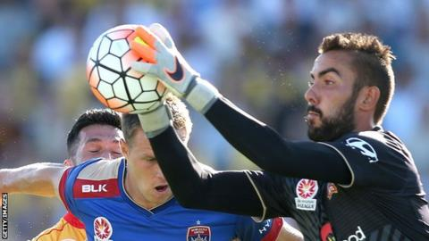 Mark Birighitti in action for Newcastle Jets in the Australian A League
