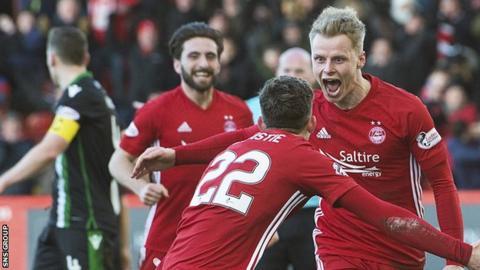 Gary Mackay-Steven scored a hat-trick in Aberdeen's win over Hibs