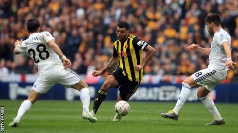 Troy Deeney in action in the FA Cup semi-final on Sunday