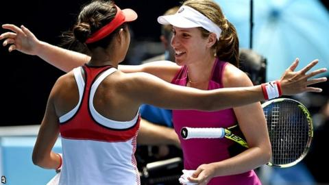 Johanna Konta, right, of Britain is congratulated by Zhang Shuai of China