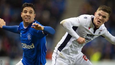 Rangers full-back Matt Polster (left) in action against Ross County