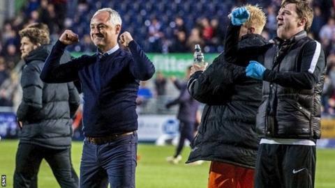 Ray McKinnon celebrates after Dundee United beat Falkirk