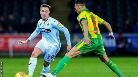 Kieran Gibbs did not allow Swansea's Barrie McKay to get the better of him at the Liberty Stadium