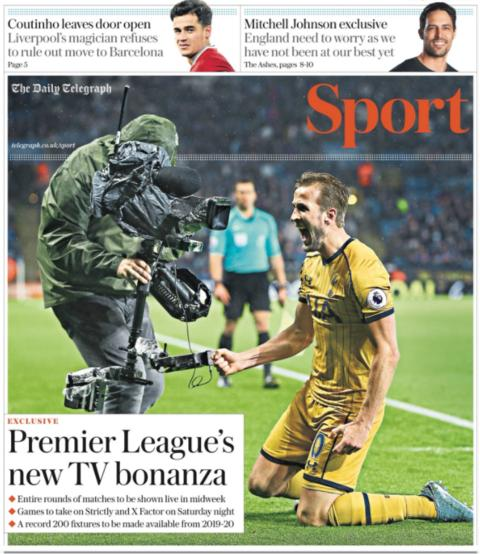 News of the Premier League's next TV deal is the Guardian's lead