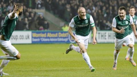 Hibs' David Gray celebrates opening the scoring