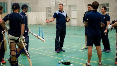 Scotland coach Grant Bradburn takes training