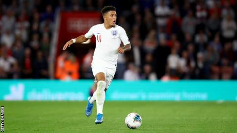England winger Jadon Sancho prepares to play the ball during a Euro 2020 qualifier against Kosovo
