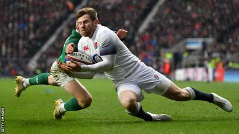 Elliot Daly scored both of England's tries during their Six Nations defeat to Ireland in March