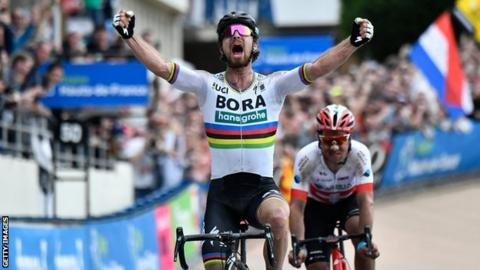 World champion Peter Sagan celebrates winning Paris-Roubaix