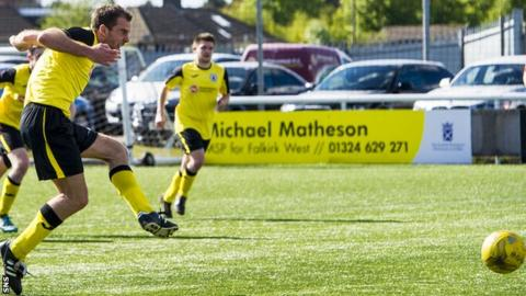 Dougie Gair scores a penalty for Edinburgh City against East Stirlingshire