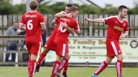 Stephen Garrett was on target in Cliftonville's 2-0 win over Ballinamallard United at Ferney Park