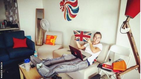 Maddie Hinch in her room at the Olympic village