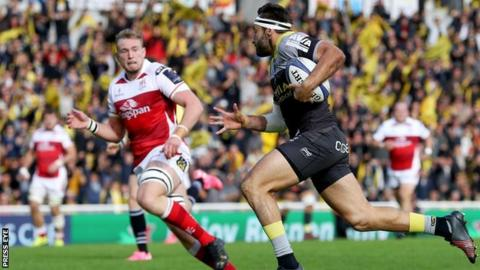 Jeremy Sizelle runs in for a La Rochelle try against Ulster in the Pool 1 opener in October