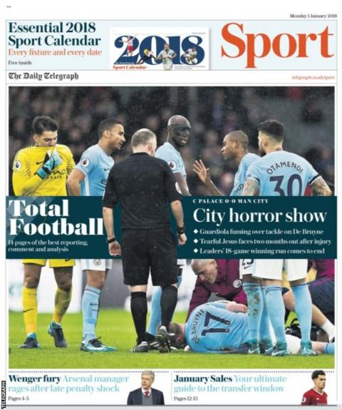 The Daily Telegraph leads with the injuries to Manchester City's Kevin de Bruyne and Gabriel Jesus