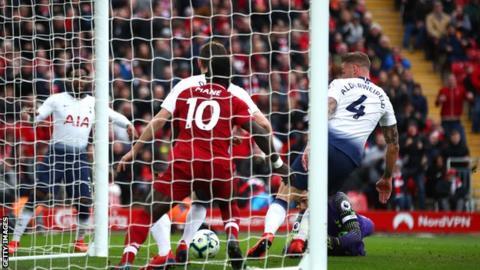 Toby Alderweireld scores an own goal for Tottenham