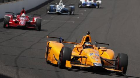 Fernando Alonso during practice for the Indianapolis 500