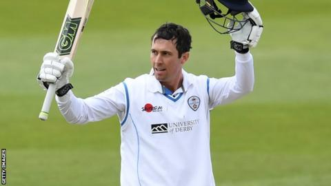 Derbyshire batsman Wayne Madsen celebrates his century against Warwickshire