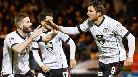 John Sutton (right) celebrates for St Mirren